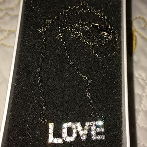 L O V E necklace with silver CZ stones